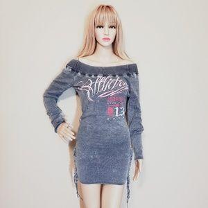 AFFLICTION Gray Sweater Dress